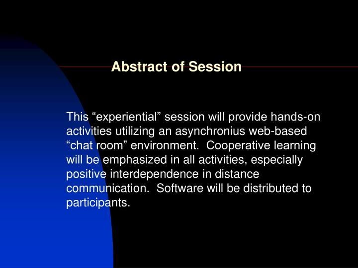 Abstract of session