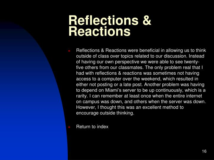 Reflections & Reactions