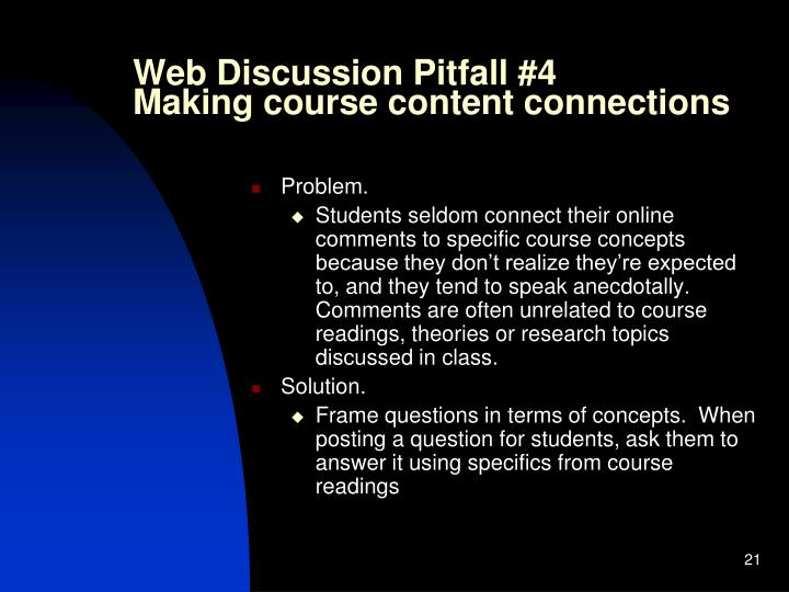 Web Discussion Pitfall #4