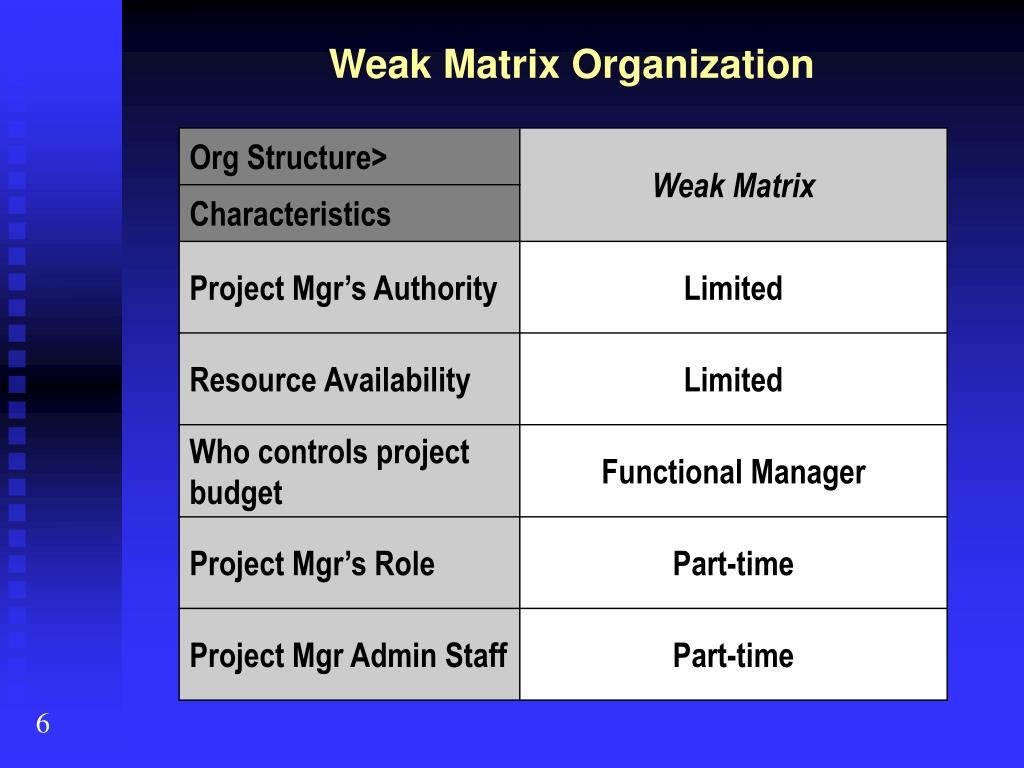 Weak Matrix Organization