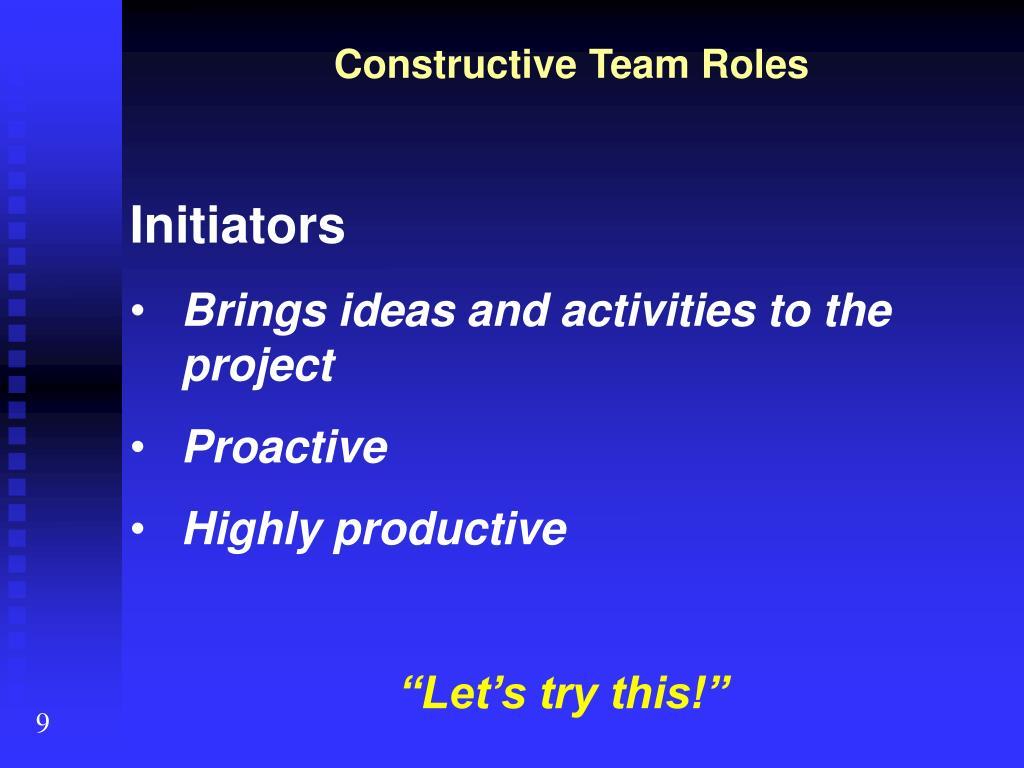 Constructive Team Roles