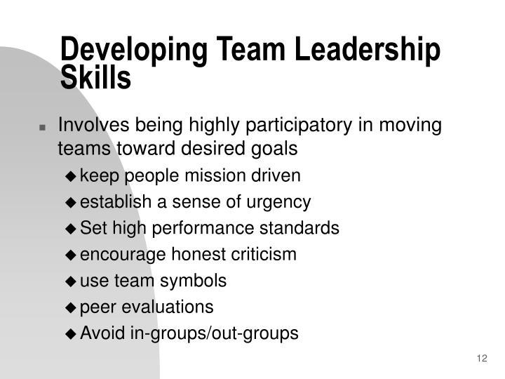 Developing Team Leadership Skills