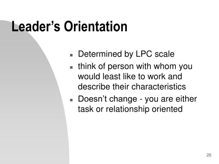 Leader's Orientation
