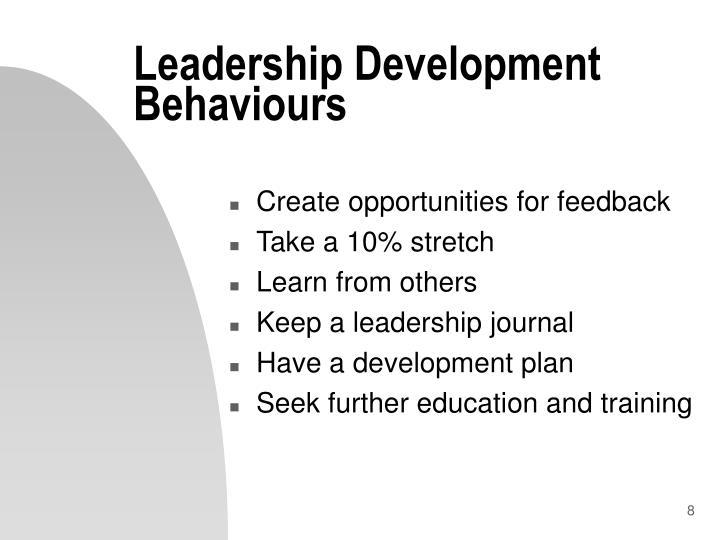 Leadership Development Behaviours