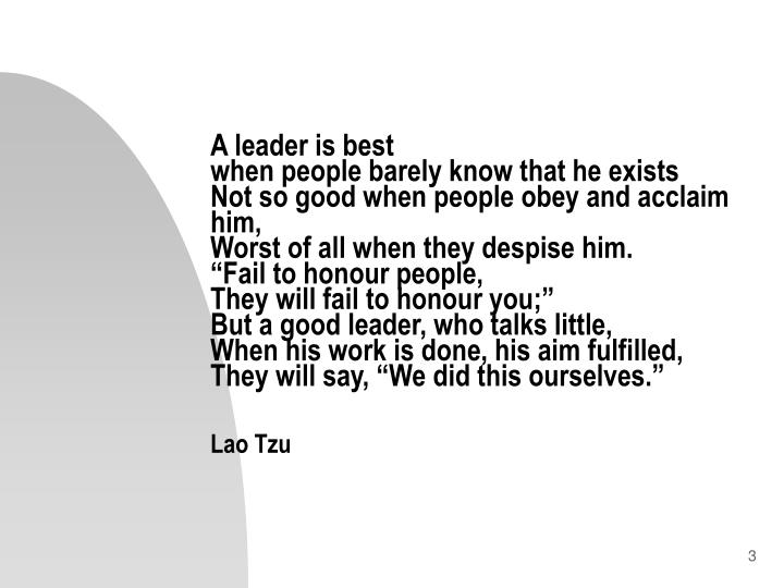 A leader is best