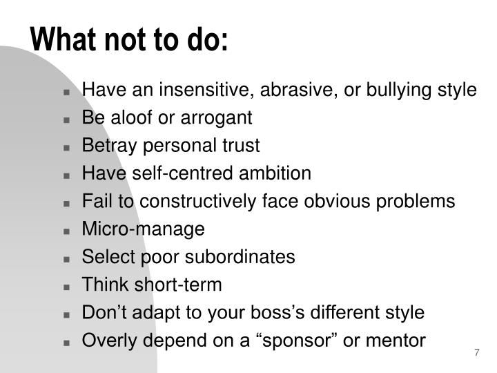What not to do: