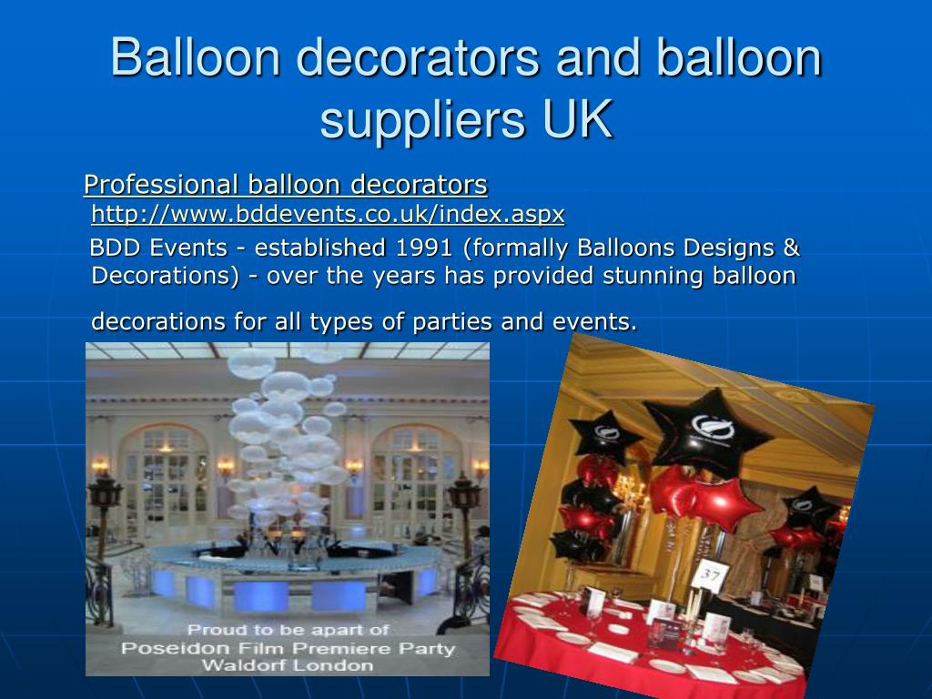 balloon decorators and balloon suppliers uk l.