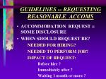 guidelines requesting reasonable accoms