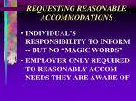 requesting reasonable accommodations