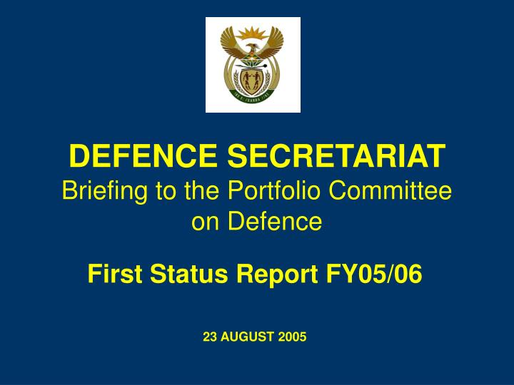 defence secretariat briefing to the portfolio committee on defence n.