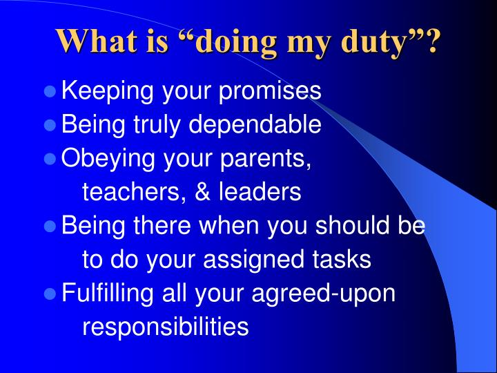 """What is """"doing my duty""""?"""