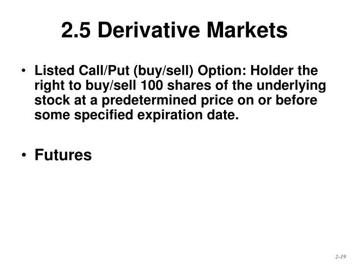 2.5 Derivative Markets