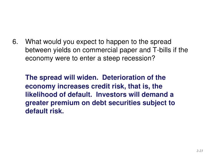 6.What would you expect to happen to the spread between yields on commercial paper and T-bills if the economy were to enter a steep recession?
