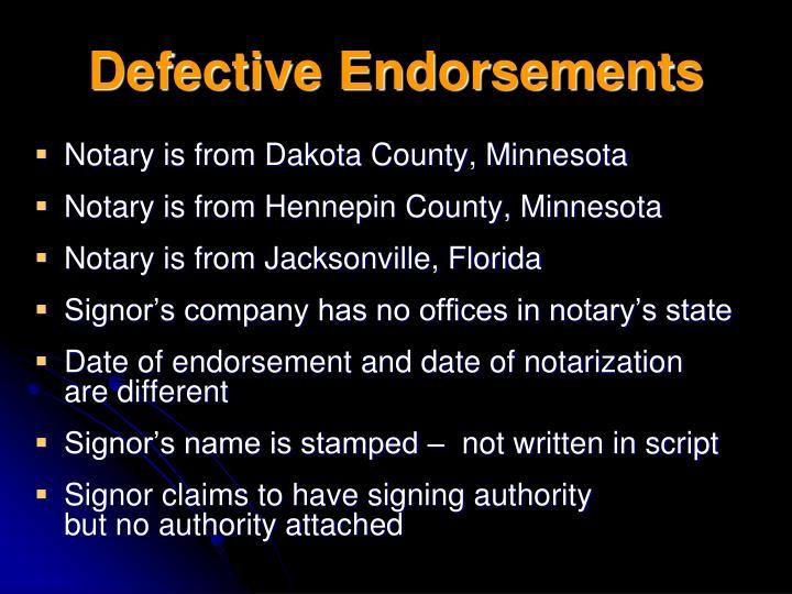Defective Endorsements