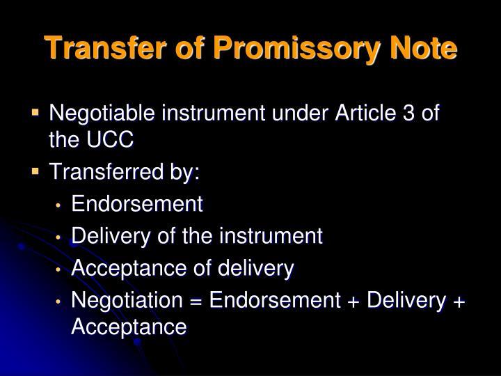Transfer of Promissory Note