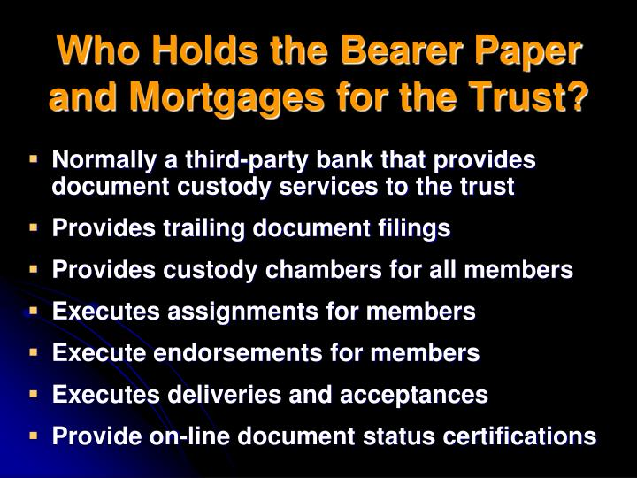 Who Holds the Bearer Paper