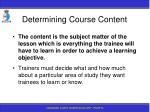 determining course content
