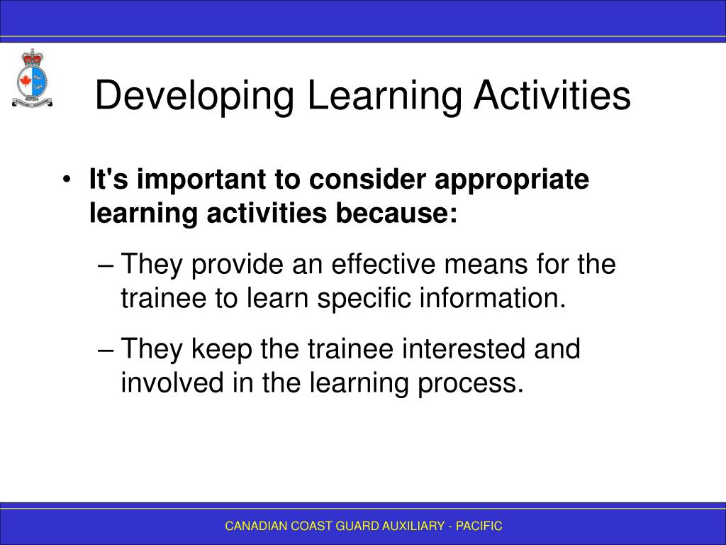 Developing Learning Activities