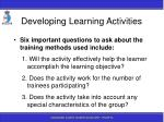 developing learning activities104