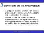 developing the training program