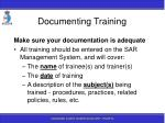 documenting training