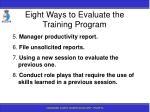 eight ways to evaluate the training program184