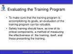 evaluating the training program