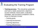 evaluating the training program181