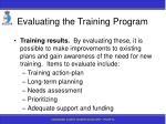 evaluating the training program182