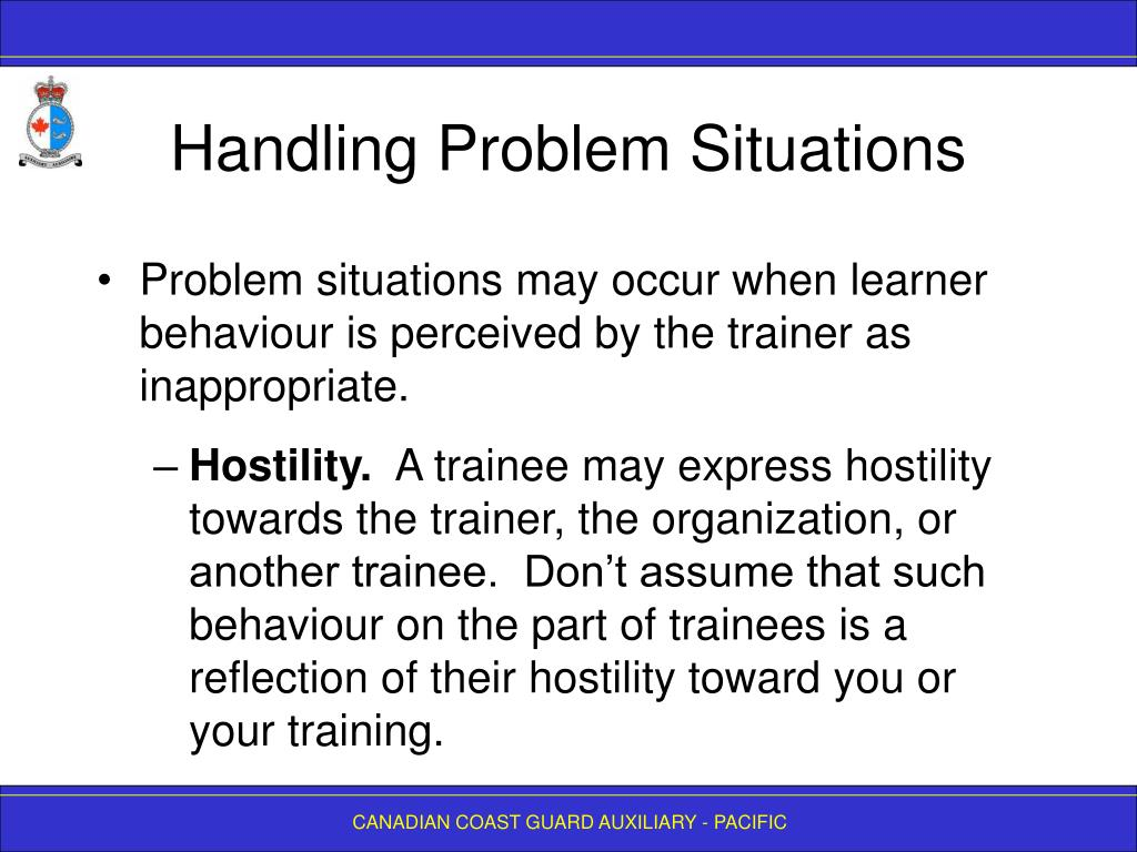 Handling Problem Situations