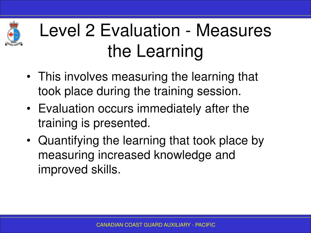Level 2 Evaluation - Measures the Learning