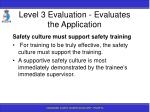 level 3 evaluation evaluates the application141