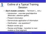 outline of a typical training session127