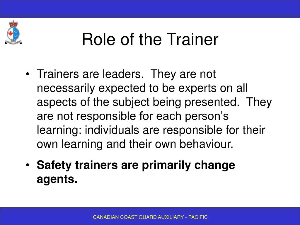 Role of the Trainer