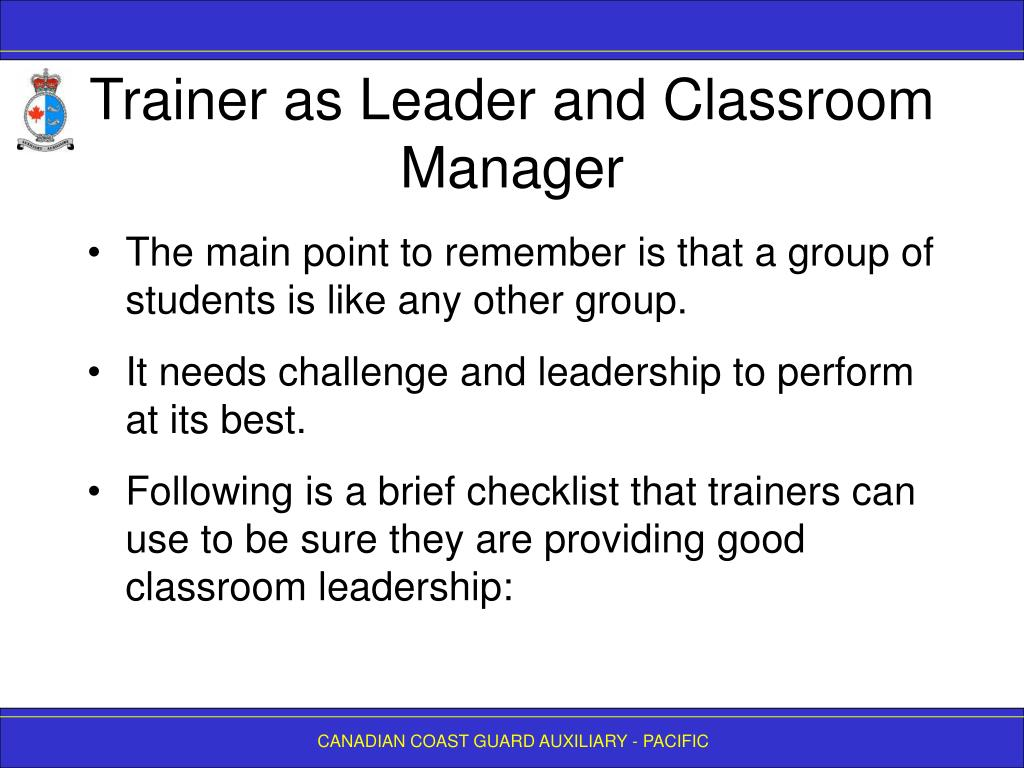 Trainer as Leader and Classroom Manager