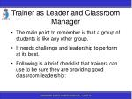trainer as leader and classroom manager32