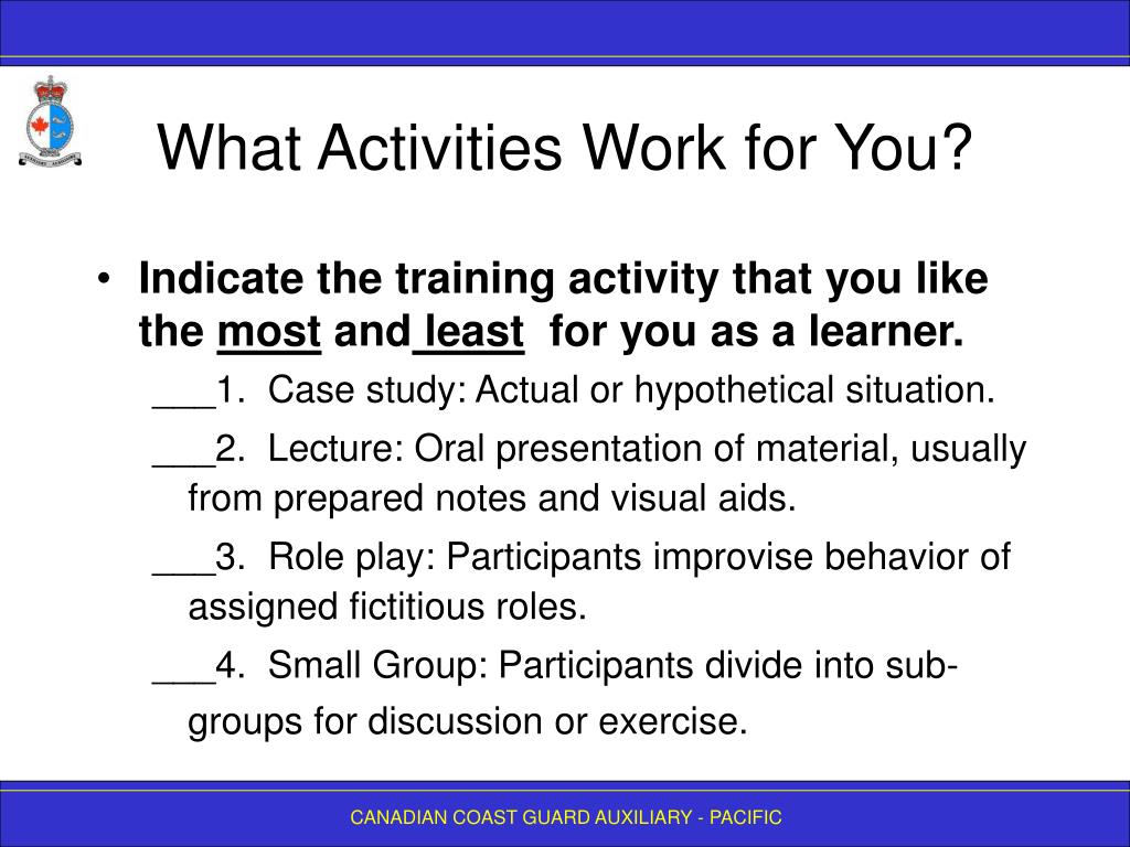 What Activities Work for You?