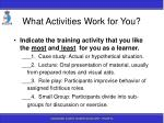 what activities work for you115