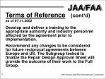 terms of reference cont d as of 07 11 20021