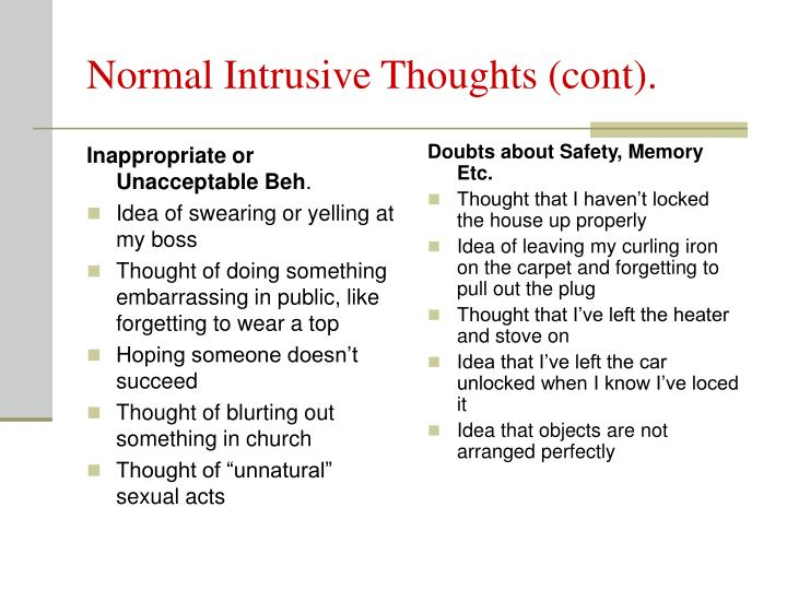 Sexual intrusive thoughts help