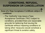 conditions refusal suspension or cancellation