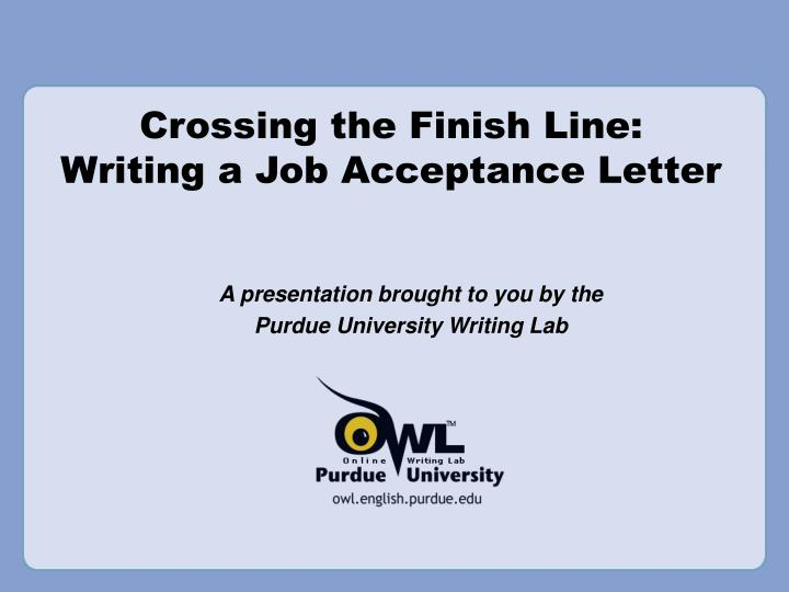 crossing the finish line writing a job acceptance letter n.