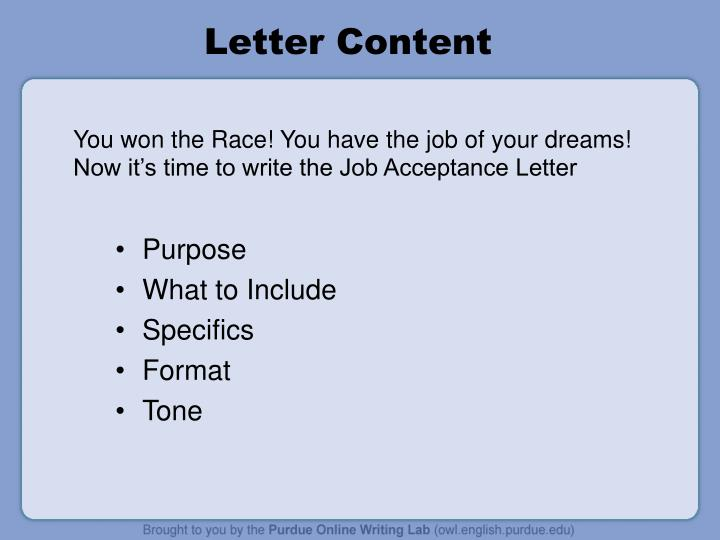 You won the race you have the job of your dreams now it s time to write the job acceptance letter