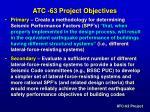 atc 63 project objectives