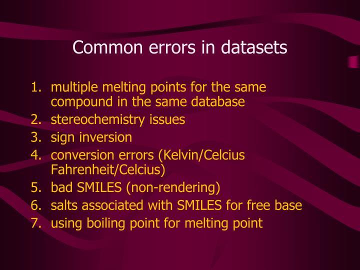 Common errors in datasets