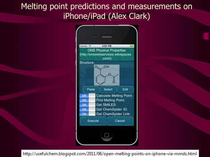 Melting point predictions and measurements on