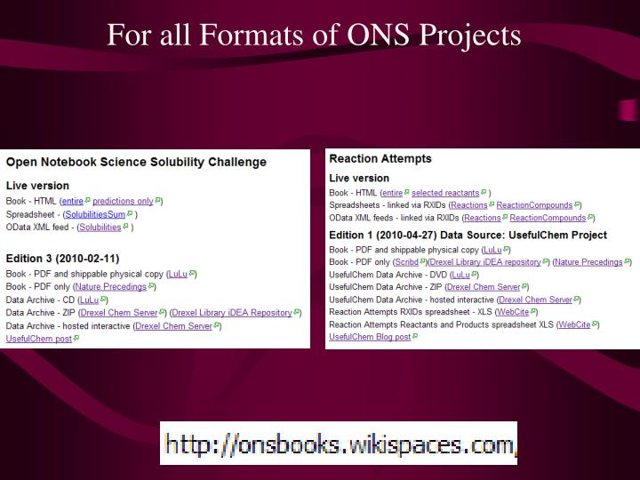 For all Formats of ONS Projects