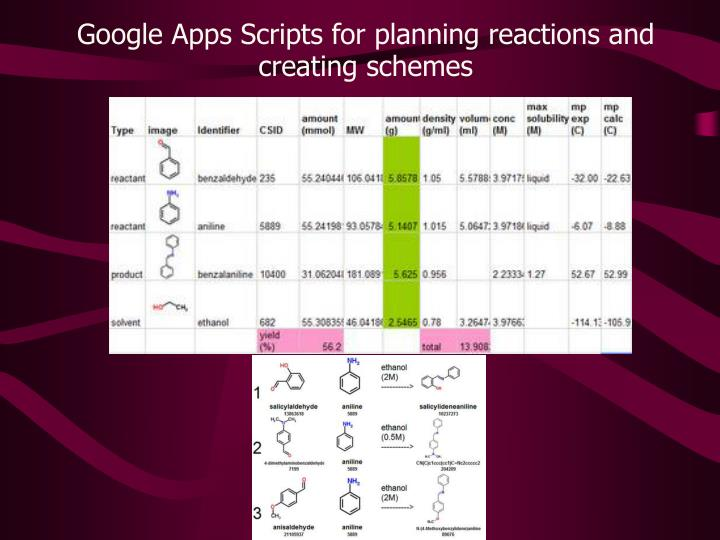 Google Apps Scripts for planning reactions and creating schemes