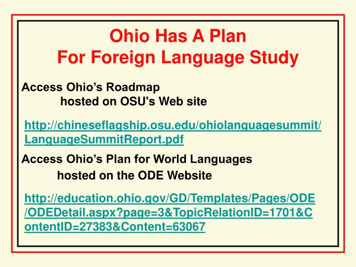 Ohio has a plan for foreign language study