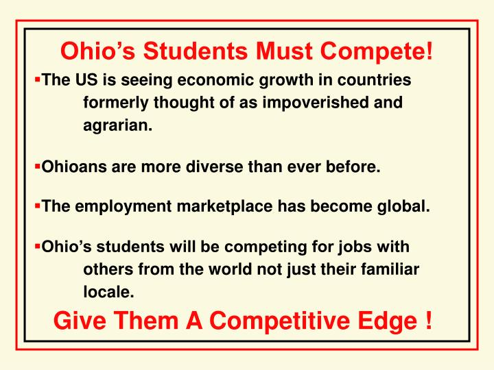 Ohio's Students Must Compete!